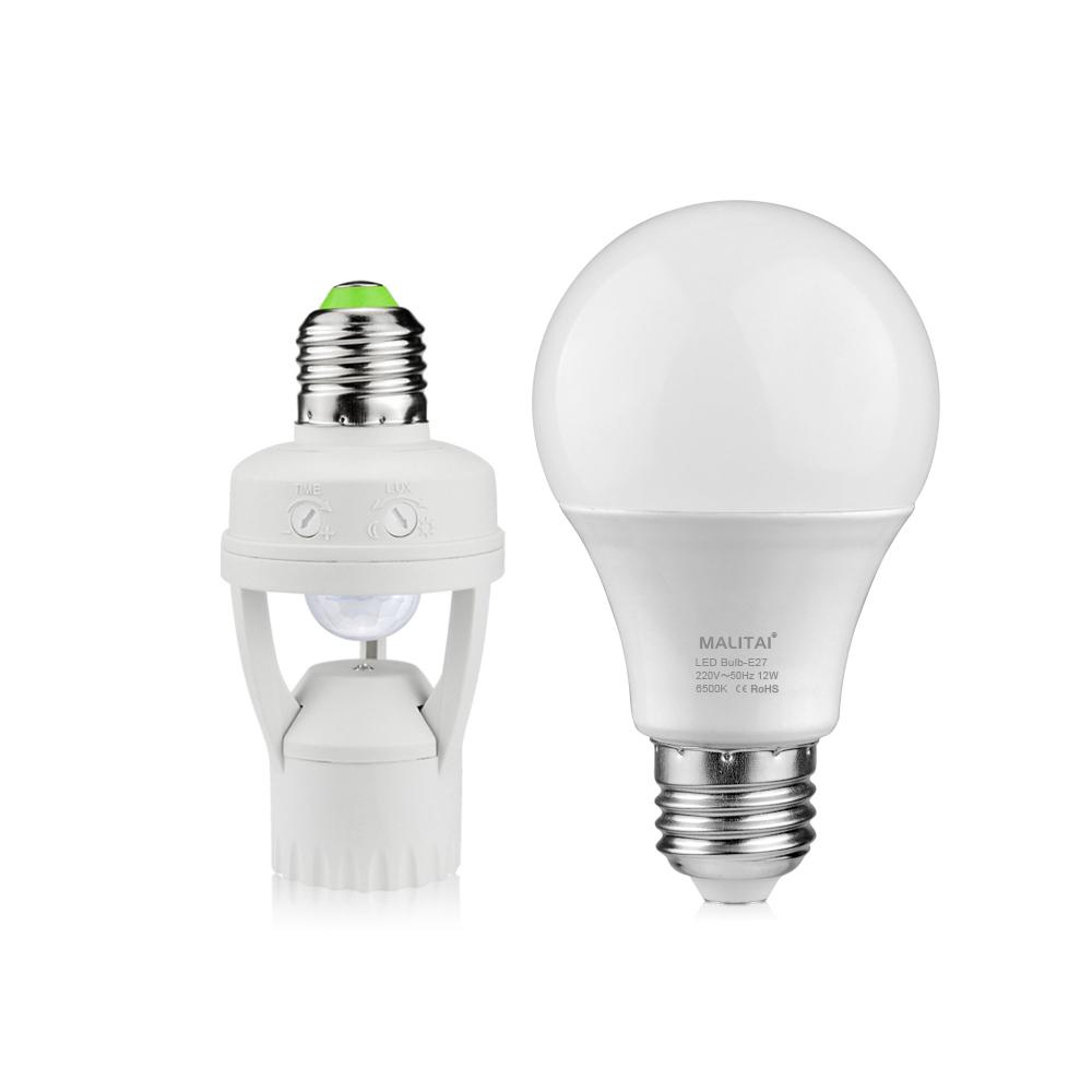 Smart pir infrared motion sensor switch led lamp holder diy led ball bulb light e27 220v