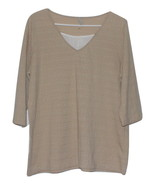 Tan v-neck blouse with elbow length sleeves   - $10.99