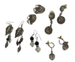 Vtg Earring lot pierced Silver Tone post dangler boho hippy Mod statement - $12.86
