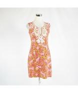Pink green floral print cotton blend BARBARA GERWIT sleeveless sun dress S - $34.99