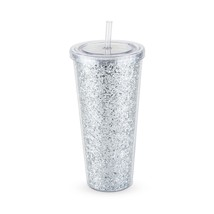 Wine Tumbler, Glam Silver Double Wall Glitter Insulated Travel Coffee Tu... - $19.49