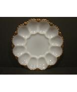 Vintage Milk Glass Deviled Egg Plate w Gold Border - $39.90