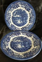 (2) CHURCHiLL BLUE ENGLISH SCENE Salad Plates FISHING CASTLE (multiple a... - $24.78