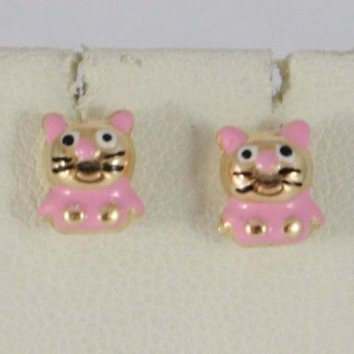 18K YELLOW GOLD KIDS EARRINGS GLAZED PINK ROUNDED CAT, BUTTERFLY, MADE IN ITALY