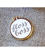 White Floss Boss Enamel Pin cross stitch access... - $10.00