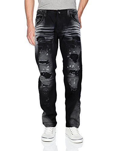 Contender Men's Moto Quilted Zip Distressed Ripped Denim Jeans (38W x 32L, 9FT22