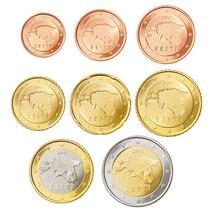 Estonia 2011 euro coins full set, from 1 cent to 2 euro, UNC - $8.78