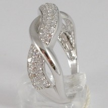 WHITE GOLD RING 750 18K, VERETTA WITH ZIRCON CUBIC, BRAIDED, UNDULATED image 2