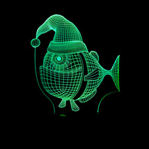 Christmas fish 3D LED touch control colorful night light - $16.80