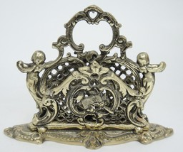 Vintage Brass Letter Holder Two Sided Victorian Cupids Hearts Made in Japan - £23.78 GBP