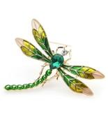 "CUTE DRAGONFLY PIN 2"" Gold Green Yellow Enamel Brooch Rhinestone Insect ... - $11.95"