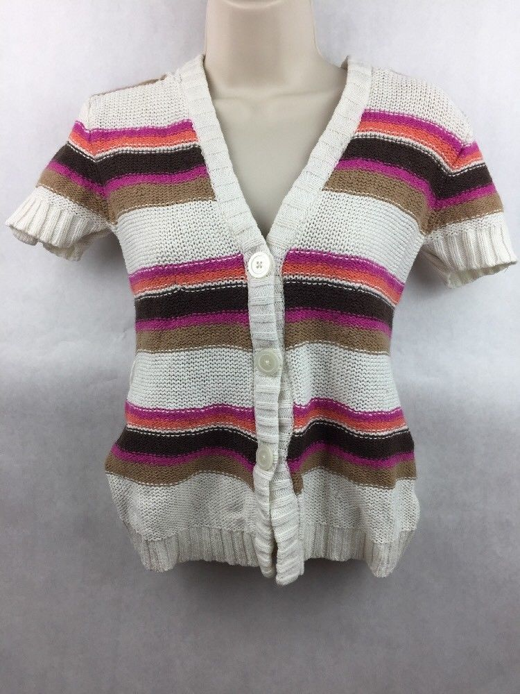 Primary image for Girl's Justice Pink Orange Brown & White Striped Knit Hooded Top Size 14