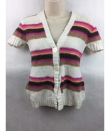Girl's Justice Pink Orange Brown & White Striped Knit Hooded Top Size 14 - $12.86