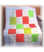Beautiful Sock Monkey Christmas Fabric Patchwork Baby/Toddler Quilt  - $50.99