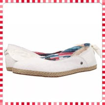 Women's Shoes UGG Perrie Cotton Canvas Skimmer Flats 1011186 White Wall Size 6 - $54.05