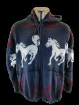 Tejidos Atahualpa Blue  Horses Stalion  Native Horseshoe Hooded Sweater ... - $41.74