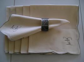 Set Of 6  Ecru Cloth Napkins 15 x 15 With Machine Embroidered Flower - $10.99