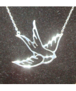 NEW - Large Sparrow Bird Cut Out Silver Tone Necklace - $3.99