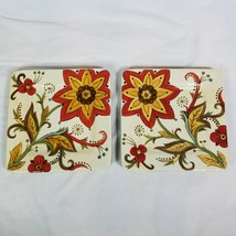 Set of 2 Pier 1 Earthenware Carynthum Square Salad Plates About 8 3/4 Inches - $37.99