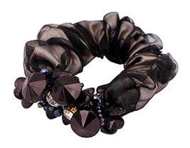 Sweet Elegant Scrunchie Elastics Ponytail Holder Hair Rope Black - $12.14