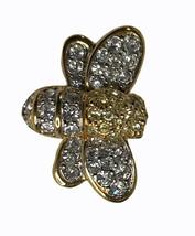 Vintage Swarovski Crystal BEE BUMBLEBEE Brooch Pin SIGNED Swan Logo - $19.35