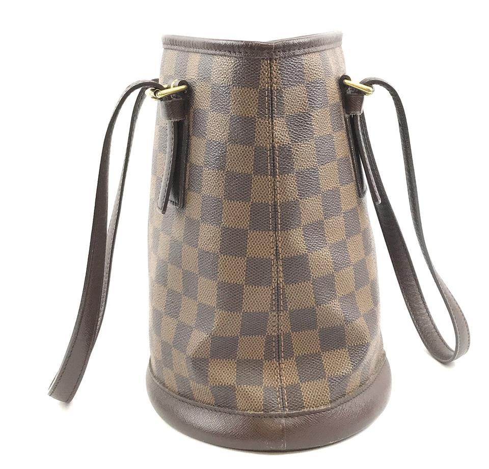 #31746 Louis Vuitton Bucket Marais Hobo Pm Tote Damier Ébène Canvas Shoulder Bag image 8