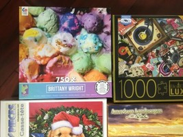 Lot of 4 Jigsaw Puzzle  1000PC and 750PC Puppy Birds Ice Cream Milton Bradley image 2