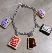 Fun Miniature Pop Tart Inspired Charm Bracelet Silver Clay Food Charm Br... - $7.50