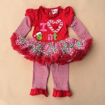 Baby girl's 3 months Rare Editions Christmas leggings & tutu top I love ... - $17.99