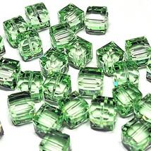 8mm Cube CHRYSOLITE SWAROVSKI® Crystal Beads #5601 - 5 BEADS - (#780) - $5.45