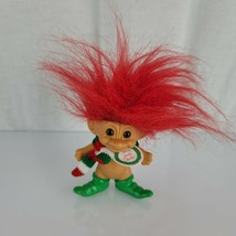 "Vintage Merry Little Trolls Russ 3"" Christmas ELF Troll Santa's Elf Red ... - $14.84"