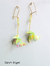 Green, blue, pink and golden Bird Origami earrings / in folded Japanese ... - $23.00