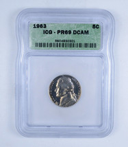 1963 Jefferson Nickel 5c PR69 DCAM - $150.00