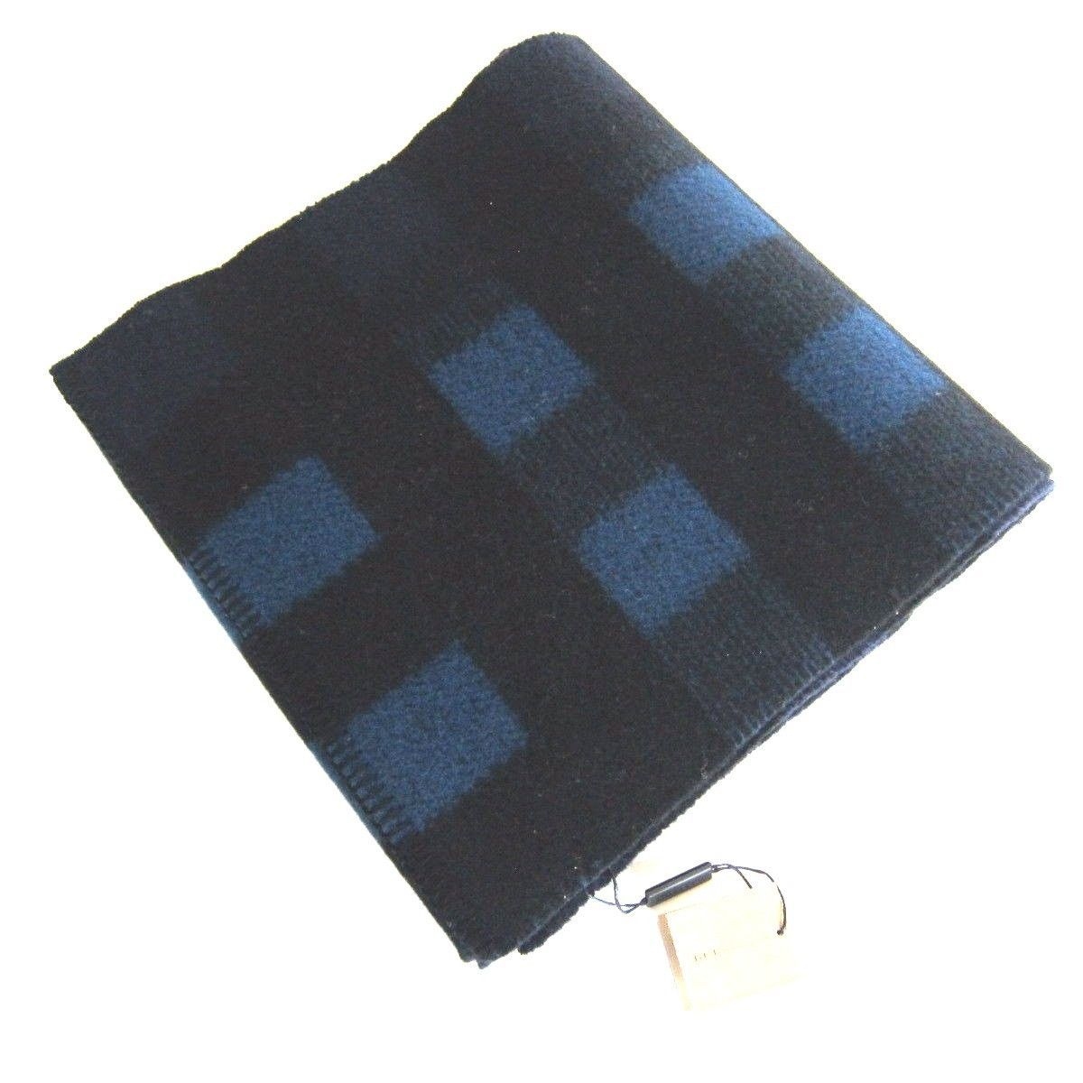 J-727141 New Burberry Plaid Blue Black Blanket Scarf 79 x 13""