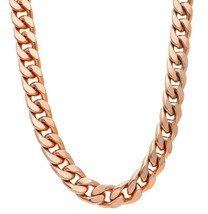 """SOLID BRASS BIG 13mm CUBAN CURB GOURMETTE ROSE CHAIN, NECKLACE, 50cm, 20"""" image 1"""