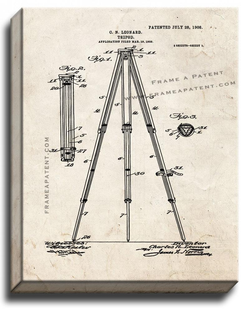 Primary image for Camera Tripod Patent Print Old Look on Canvas