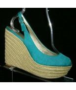 Jessica Simpson 'Jungle' teal canvas peep toe slingback espadrille wedge... - $33.30