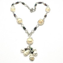 Necklace the Aluminium Long 48 Inch with Seashells Hematite & Pearl White image 1