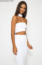 Sexy Women Strapless Pencil Collar Two Piece Dress Mid-Calf Solid Dress ... - $14.99