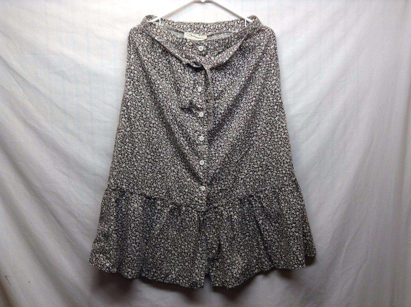 Bronson of California Brown w White Floral Design Skirt Sz 13-14