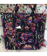 NWT Vera Bradley Midnight Wildflower Villager Tote Bag Shoulder Handbag - $53.99