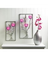 Lot of 2 Magenta Flower Candle Wall Sconces - $69.95