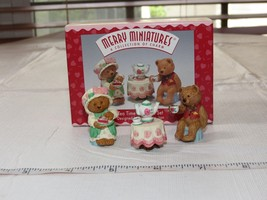 HALLMARK Merry Miniatures Charm 1997 Tea Time 3 piece set Miniature Figu... - $11.87