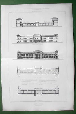 ARCHITECTURE PRINT : France Asylum in Braqueville at Toulouse Facades