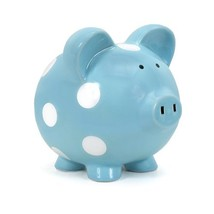 Child to Cherish Ceramic Polka Dot Piggy Bank for Boys, Light Blue - $22.32