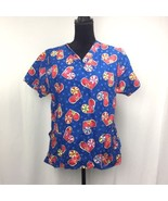 Women's Comfy Cotton Scrub Top M Medium Blue w/ Hearts & Flowers - $10.22