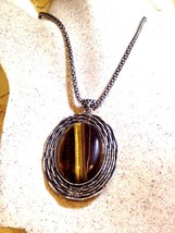 Vintage Handmade Silver Finish Genuine Golden Tiger's Eye Necklace - $31.68
