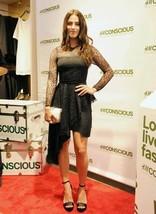 H&M Conscious Collection Asymmetric Hem Black Lace Train Dress UK8 - $67.67
