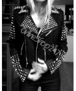 New Women Punk Black Full Heavy Metal Spiked Studded Zipper Biker Leather jacket - $329.99 - $399.99
