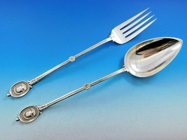 "Medallion by Wendt Sterling Silver Salad Serving Set Long 2 Pieces 12"" Antique - $2,759.00"